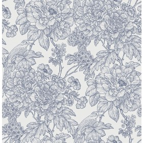 2901-25411 Birds of Paraside Breeze Blue Floral Wallpaper