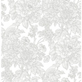 2901-25412 Birds of Paraside Breeze Grey Floral Wallpaper
