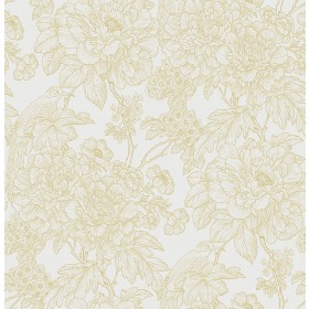 2901-25413 Birds of Paraside Breeze Mustard Floral Wallpaper