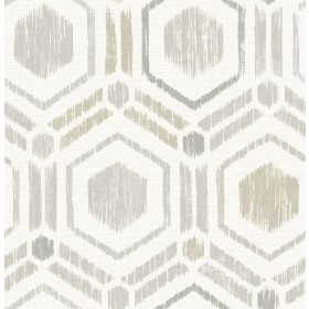 2901-25434 Borneo Light Grey Geometric Grasscloth Wallpaper