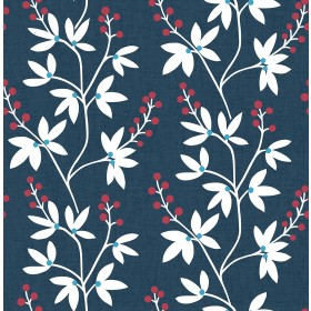 2901-25438 Linnea Elsa Navy Botanical Trail Wallpaper