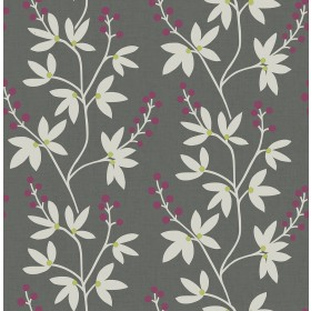 2901-25439 Linnea Elsa Dark Brown Botanical Trail Wallpaper