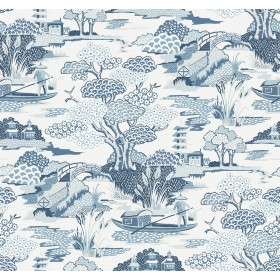 2901-87507 Joy De Vie Blue Toile Wallpaper