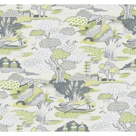 2901-87508 Joy De Vie Green Toile Wallpaper