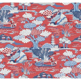 2901-87509 Joy De Vie Red Toile Wallpaper