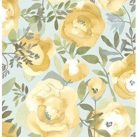 2903-25837 Orla Yellow Floral Wallpaper