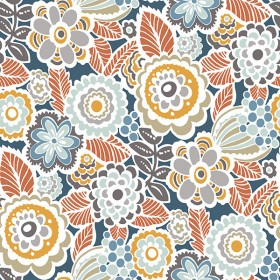 2903-25866 Lucy Navy Floral Wallpaper