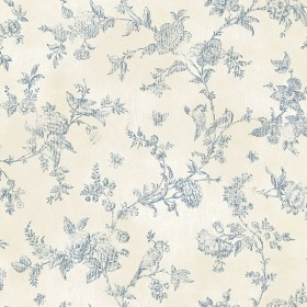 2904-02192 French Nightingale Blue Trail Wallpaper