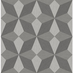 2908-25300 Valiant Grey Faux Grasscloth Geometric Wallpaper