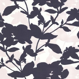 Navy Large Scale Floral Wallpaper