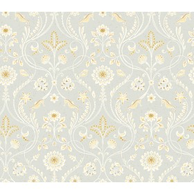 Island Grey Damask Wallpaper