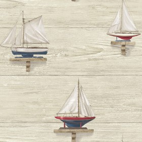 Set Sail Beige Wood Wallpaper