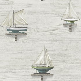 Set Sail White Wood Wallpaper
