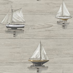 Set Sail Grey Wood Wallpaper