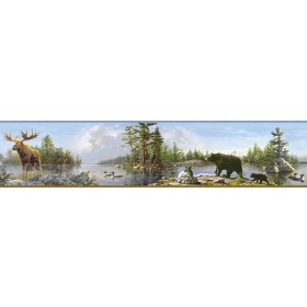 3118-48541B Moose Lake Multicolor Forest Border
