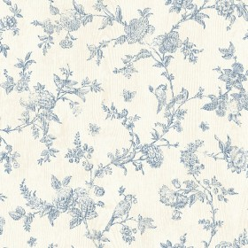 3119-02192 French Nightingale Blue Floral Scroll Wallpaper