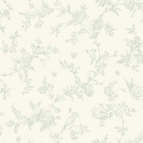 3119-02194 French Nightingale Sage Floral Scroll Wallpaper