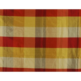 Red & Gold silk buffalo check fabric PDS 1235