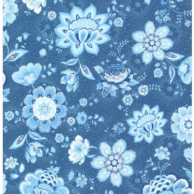 Kali Dark Blue Folklore Chintz Wallpaper