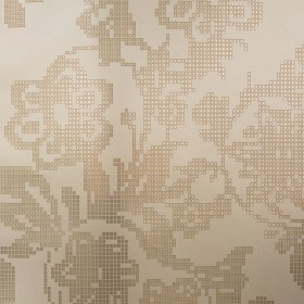 Sadira Brass Pixelated Modern Floral Wallpaper