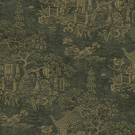 AD1259 Metallic Gold Asian Pagoda Chinoiserie Toile on Black Wallpaper