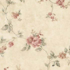 Mary Salmon Floral Vine Wallpaper