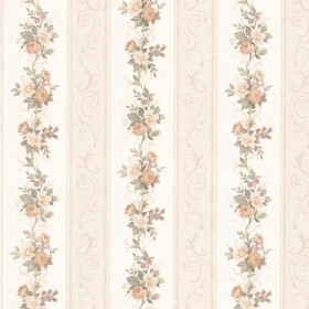 Lorelai Peach Floral Stripe Wallpaper