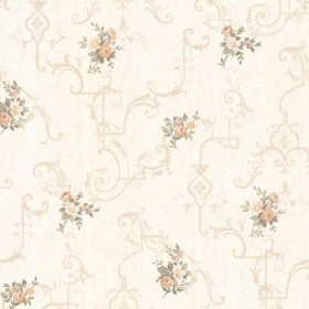Lori Peach Floral Trellis Wallpaper