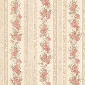 Tasha Peach Satin Floral Scroll Stripe Wallpaper