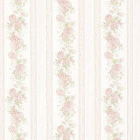 Tasha Pastel Satin Floral Scroll Stripe Wallpaper
