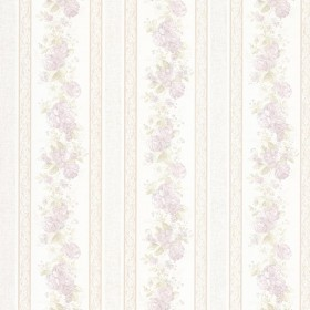 Tasha Lavender Satin Floral Scroll Stripe Wallpaper