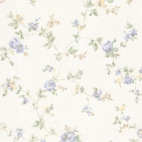 Mary Light Blue Floral Vine Wallpaper