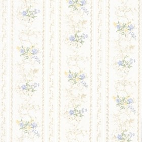 Maury Light Blue Floral Bouquet Stripe Wallpaper