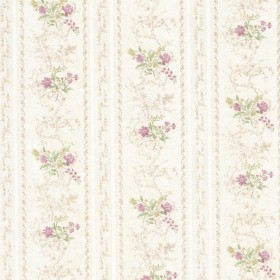 Maury Mauve Floral Bouquet Stripe Wallpaper