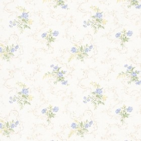 Marie Light Blue Delicate Floral Bouquet Wallpaper