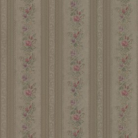 Alexis Olive Satin Floral Stripe Wallpaper