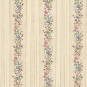 Alexis Beige Satin Floral Stripe Wallpaper