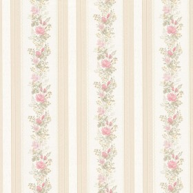 Alexis Pink Satin Floral Stripe Wallpaper