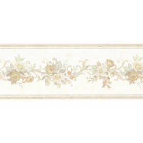 Lory Taupe Floral Wallpaper Border