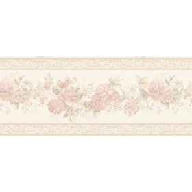 Tiff Blush Satin Floral Wallpaper Border
