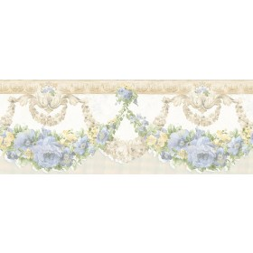 Marianne Light Blue Floral Bough Wallpaper Border