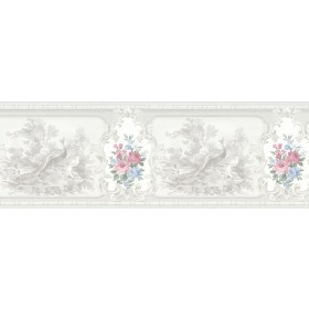 Kris Platinum Aviary Cameo Fleur Wallpaper Border