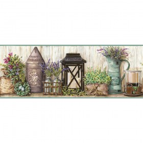 AC4356BD Aqua Green Farmhouse Garden Wallpaper Border