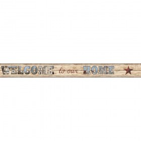 Country Keepsakes Welcome To Our Home Brown, Blue, Black Wallpaper Border