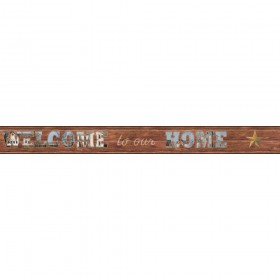 Country Keepsakes Welcome To Our Home Brown, Blue, Grey Wallpaper Border   AC4422BD_673