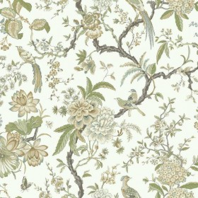 AD1200 Green Tan Birds and Floral Asian Toile Wallpaper