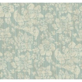 AD1295 Light Taupe Jacobean Floral on Metallic Blue Green Background Wallpaper