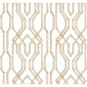 AF6560 White, Gold Oriental Lattice Wallpaper
