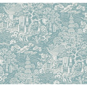 AF6575 Blue, Green Chinoiserie Wallpaper