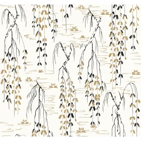 AF6581 White, Black, Gold Willow Branches Wallpaper